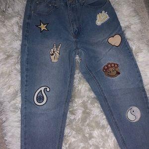 Boo Hoo Design Patch Jeans Sz 6